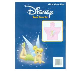 Disney TINKERBELL Fairy Pink Girl Rain Poncho ONE SIZE