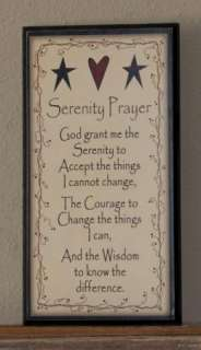 SERENITY PRAYER SIGN Primitive Rustic Home Wall Decor Antique Country