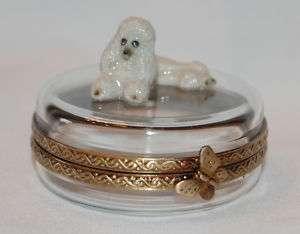 Limoges Porcelain Poodle Dog on Crystal Trinket Box