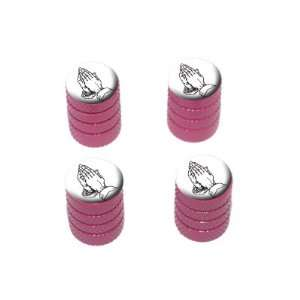 Praying Hands Religious   Tire Rim Valve Stem Caps   Pink