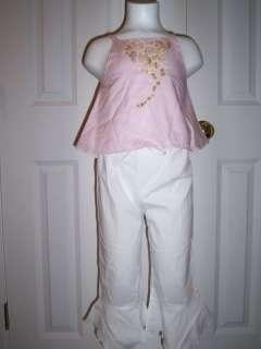 o Boutique Charabia Pink tank Flare Leg Pants set 4