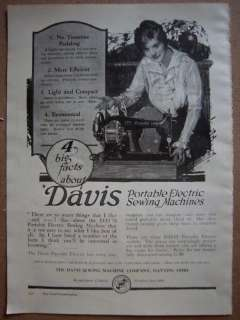 1931 Antique DAVIS Portable Electric Sewing Machine Ad
