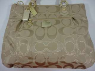 Coach Poppy Signature Lurex Glam Beige Khaki Gold tote handbag #F17890