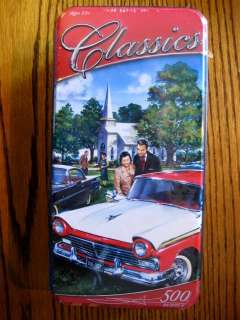 Classic Car PUZZLE 500 pc   Red & White Ford at Church