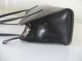MONSAC BLACK ITALIAN GLAZED LEATHER SATCHEL PURSE HANDBAG SHOULDER BAG