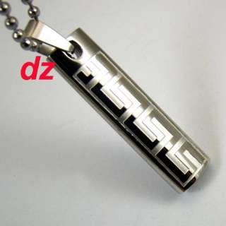 B5312 Cool Popular Men Stainless Steel Ablong Pendant Necklace Chain