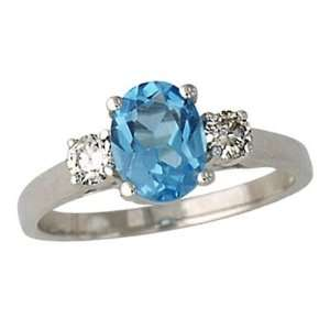 Blue Topaz and Diamond Three Stone Ring 14K White Gold
