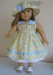 DOLL CLOTHES fits American Girl Yellow Blue Trim Butterflies Dress Hat