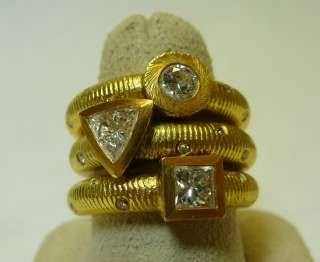 Paul Morelli 18k. Yellow Gold & Diamond Stack Rings