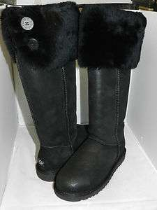 UGG BOOT OVER THE KNEE BAILEY BUTTON BOMBER BLACK BLACK 100% AUTHENTIC