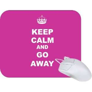 Rikki Knight Keep Calm or Go Away   Pink Rose Color Mouse Pad Mousepad