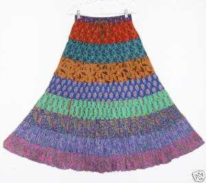 Sacred Threads Hippie Boho FALL Paisley Crinkle Skirt