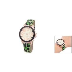 Como Ladies Black Leopard Print Green Adjustable Quartz