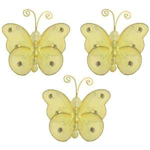 3 Yellow Mini (X Small) Wire Bead Butterfly Butterflies