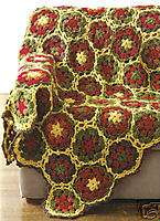 Hexagon Floral Afghans Crochet Patterns Circle Flowers