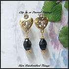 Petite golden valentine heart and Jet Black crystal earrings clip