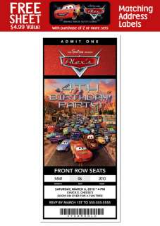 CARS Birthday Party TICKET Invitations