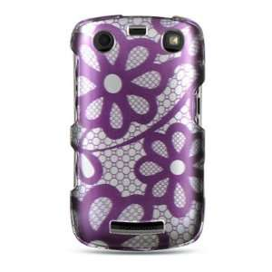 WIRELESS CENTRAL Brand Hard Snap on Shield With PURPLE LACE FLOWER