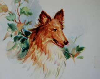Vintage Collie dog Delivers letter 1951 USA Birthday card to Dad