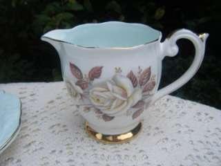 Anne Autumn Rose Bone China 17pc tea set Turquoise White Roses