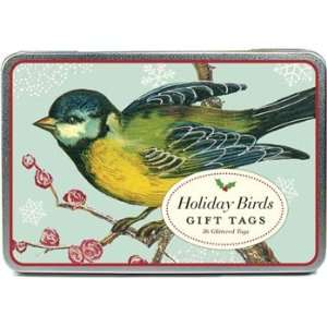 Holiday Birds Glittery Gift Tags