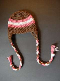 Beanie Ear Flap Hat Baby Girl Photography Prop Brown & Pink