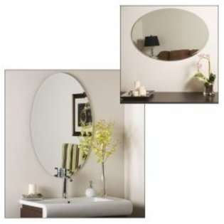 Decor Wonderland Frameless Oval Beveled Mirror   Silver   31.5H x 23