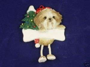 SHIH TZU TAN/WHITE PUPPY CUT Dangling Legs Ornament #87
