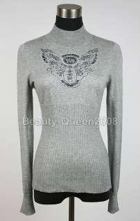 Bead Embellished Gray Wool Cardigan Sweater Coat Top XS