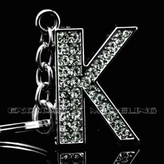 Silver Plated Metal Bling Rhinestone Keychain Letter K