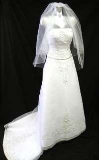 OLEG CASSINI WEDDING DRESS CT129 WHITE STRAPLESS ORGANZA A LINE SZ 2 w
