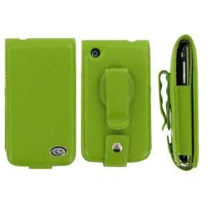Apple iPhone 3G Premium Flip Green Leather Case with