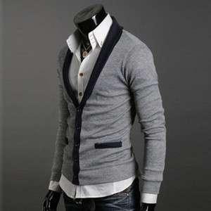 NWT Mens Premium Slim V Neck Stylish Cardigan Sz M L XL