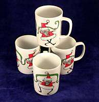 1980 Fitz & Floyd Variations Dancing Santa Mug Set 4