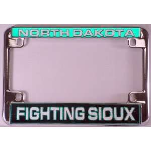 University North Dakota UND Fighting Sioux Chrome Motorcycle License