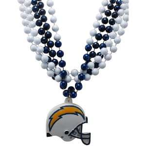 NFL San Diego Chargers Team Medallion and Mardi Gras Bead Set