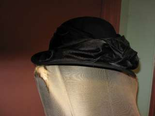 Betmar black velvet beret hat w sparkle bead knot