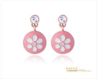 Viennois Vintage Round Flower Rhinestone Crystal Dangle Earrings