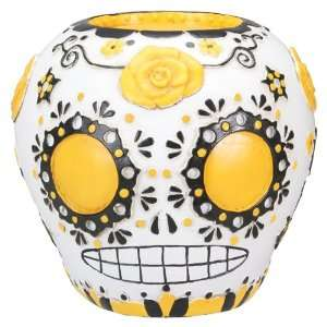 DOD Day Of The Dead Yellow Sugar Skull Statue Figurine