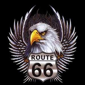 00919 American Route 66 Motorrad Biker Motiv T Shirt
