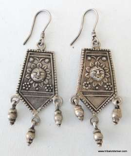 VINTAGE ANTIQUE ETHNIC TRIBAL OLD SILVER EARRING DANGLE RAJASTHAN