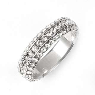 Full Eternity 18K GP Band Ring Swarovski Clear Crystals R575G