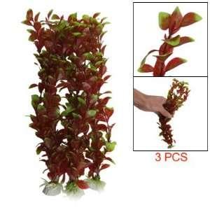 Como Green Burgundy Oval Leaf Aquarium Artificial Plant