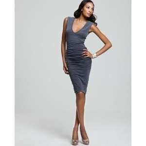 James Perse Cap Sleeve Deep V Dress with Ruching sz 1