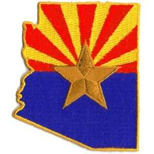 Arizona Flag (State Shaped) An Embroidered Iron On Patch
