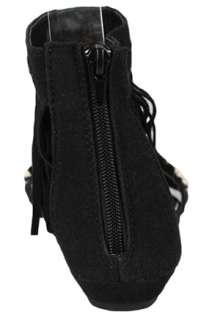 Sandals Black Roman Gladiator Fringe Ankle Strappy Flat Sandal