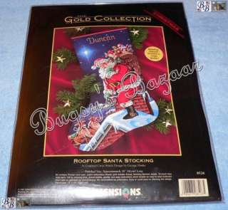 Dimensions Gold ROOFTOP SANTA Counted Cross Stitch Christmas Stocking