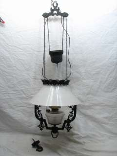 ANTIQUE CAST IRON WEIGHTED HANGING OIL LANTERN LAMP LIGHT SLANT MILK