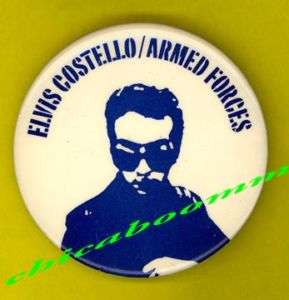 Elvis Costello 1978 Armed Forces badge button pinback f