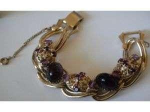 Kafin New York Purple Art Glass Rhinestone Bracelet